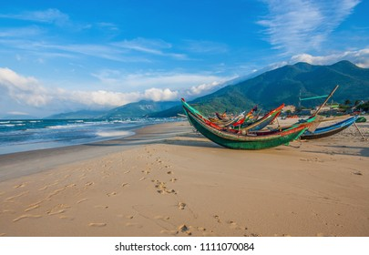 Lang Co Bay, Vietnam - 16th March 2015 - halfaway between Da Nang and Hue, the Lang Co Bay is one of the most wonderful hidden secrets of Vietnam. Here in particular the beach seen during the sunset