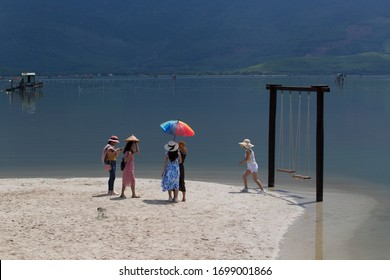 Lang Co, Thua Thien-Hue Province, Vietnam, Asia. July 21 2019: Tourists in the Lang Co lagoon, Lang Co, Vietnam.