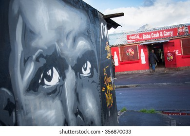 LANGA TOWNSHIP, SOUTH AFRICA - JULY 12, 2015 - Street art on the side of a building within Langa Township, located on the outskirts of Cape Town, South Africa