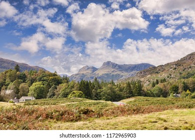 Langdale Pikes from Elterwater, Lake District National Park, Cumbria, England, UK