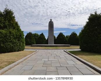 Langemark, Belgium, 08/2018: Brooding Soldier at Saint Julien Memorial