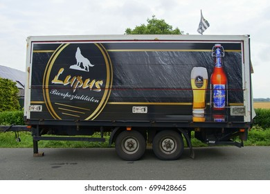 Langenfeld, Nordrhein-Westfalen, germany -  July 27, 2017: Lupas Pilsener beer trailer by parked by the side of the road in the city of Langenfeld.