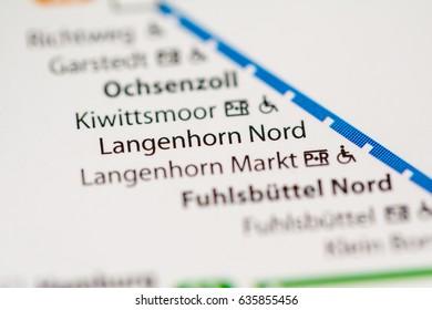 Langenhorn Nord Station. Hamburg Metro map.