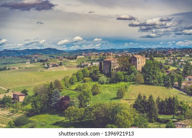 Langhe and Monferrato vineyards town, Piedmont, Italy