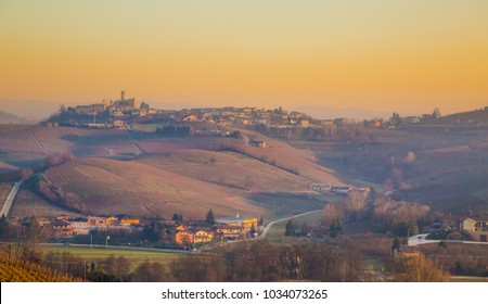 Langhe region landscape of vineyards