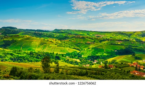 Langhe vineyards panorama view from Diano d Alba, Unesco Site, Piedmont, Northern Italy Europe.