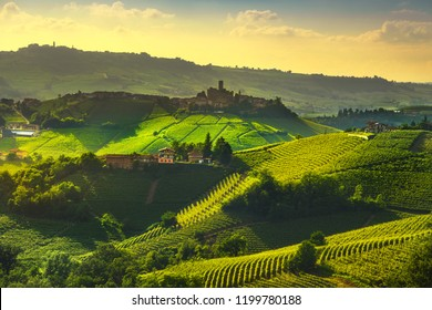Langhe vineyards sunset panorama, Castiglione Falletto and La Morra, Unesco Site, Piedmont, Northern Italy Europe.