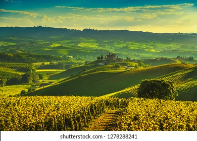 Langhe vineyards sunset panorama, Grinzane Cavour and La Marra, Unesco Site, Piedmont, Northern Italy Europe.
