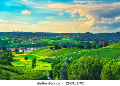 Langhe vineyards sunset panorama, Roddi village, Unesco Site, Piedmont, Northern Italy Europe.
