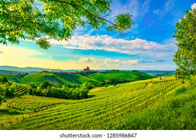 Langhe vineyards sunset panorama, Serralunga d Alba, Unesco Site, Piedmont, Northern Italy Europe.