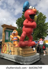 LANGHORNE, PA - MAY 7: Neighborhood Street Party Parade at Sesame Place in Langhorne, Pennsylvania, on May 7, 2017. The park includes rides, shows, and water attractions suited to young children.