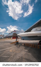 LANGK, MALAYSIA - Mar 30, 2019: Russian Military fighter jet on standby and on display at an airport