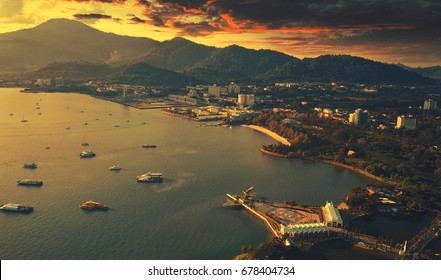 Langkawi eagle statue,Malaysia, view from the drone