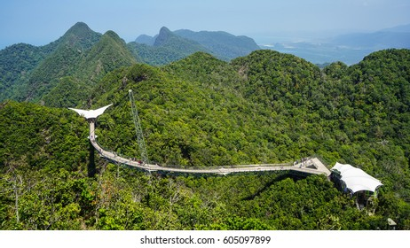 Langkawi Island, Malaysia - February 11th 2017: An aerial view of the free span and curved sky bridge on top of the Langkawi Island.