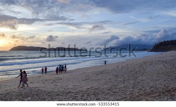 LANGKAWI ISLAND/MALAYSIA - SEPTEMBER 4 2016: Pantai Tengah (and Pantai Cenang) beach. Langkawi island. Strait of Malacca. Malaysia