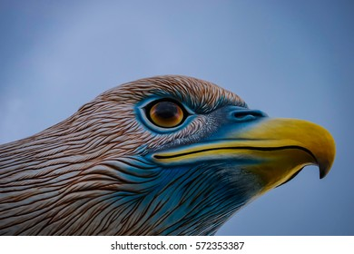 LANGKAWI - JANUARY 22, 2017: Statue at Eagle Square showing the head of an eagle in Langkawi, Malaysia.