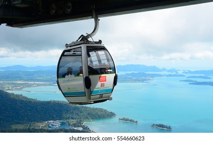 LANGKAWI - JANUARY 3: Cable Car at January 3, 2017 in Langkawi, Malaysia. The cable car and the Skybridge are the main attractions in Langkawi.