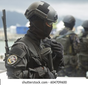 LANGKAWI, MALAYSIA - 20 MARCH 2017: Malaysian special forces displays in conjunction with LIMA Expo