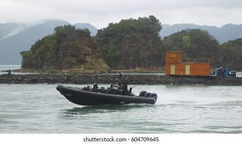 LANGKAWI, MALAYSIA - 20 MARCH 2017: Malaysian special forces boat displays in conjunction with LIMA Expo