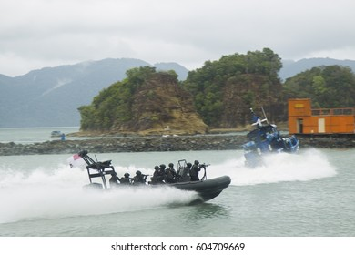 LANGKAWI, MALAYSIA - 20 MARCH 2017: Malaysian special forces storm a mock terrorist group in conjunction with LIMA Expo