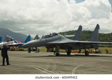 LANGKAWI, MALAYSIA - 21 MARCH 2017: Malaysian Sukhoi SU30 pushes out for aerial display at LIMA Expo