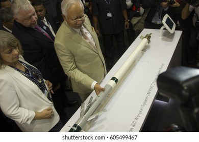 LANGKAWI, MALAYSIA - 21 MARCH 2017: Malaysian Prime Minister Najib Razak visits exhibitors in conjunction with LIMA Expo