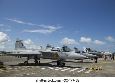 LANGKAWI, MALAYSIA - 21 MARCH 2017: Fighter jets on display at LIMA Expo