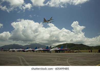 LANGKAWI, MALAYSIA - 21 MARCH 2017: MAS Airbus A380 performs a flyby in conjunction with LIMA Expo