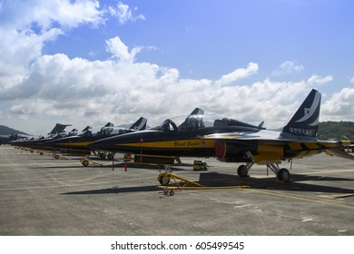 LANGKAWI, MALAYSIA - 21 MARCH 2017: South Korea T50 trainer jets on display in conjunction with LIMA Expo