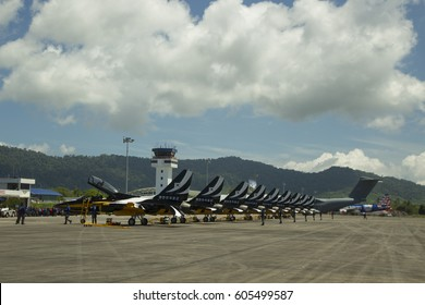 LANGKAWI, MALAYSIA - 21 MARCH 2017: South Korea T50 trainer jets readies for aerial display in conjunction with LIMA Expo