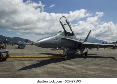 LANGKAWI, MALAYSIA - 21 MARCH 2017: F18 Hornet towed in to parking at LIMA Expo