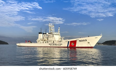 LANGKAWI, MALAYSIA - 22 MARCH 2017: Malaysian Coast Guard MMEA ship displays at Lima expo. Malaysian Prime MInister Najib officiated the naming of this ship to KM Pekan at LIMA 21 March 2017