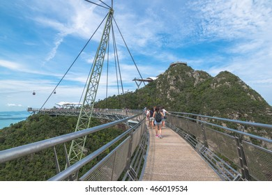 LANGKAWI, MALAYSIA - 8 AUG2016: Sky Bridge on Mat Cincang mountain in Langkawi.