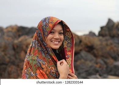 Langkawi, Malaysia - April 21, 2018: Portrait of pretty young asian muslim woman with Malay traditional outfit that is usually use during wedding ceremony. Malay culture has various type of traditiona