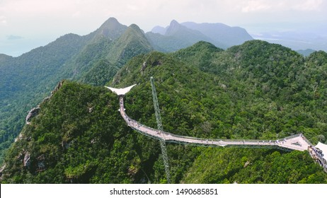 Langkawi, Malaysia : August 29, 2019 :Langkawi Sky Bridge is a 125-metre curved pedestrian cable-stayed bridge in Malaysia, The bridge deck is located 660 metres above sea level.