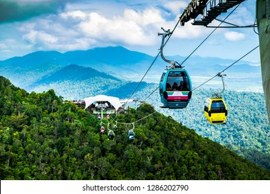 LANGKAWI - MALAYSIA: Cable Car and the Skybridge at January 16, 2019 in Langkawi, Malaysia. The cable car and the Skybridge are the main attractions in Langkawi.