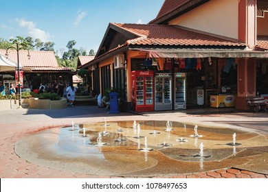 Langkawi, Malaysia - February 16, 2016: Street fountain near hotels and shops for tourists at Oriental Village that is the gateway to ride a cable-car up Mat Cingcang mountain