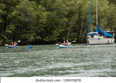 Langkawi, Malaysia - January 2, 2017 : The mangrove tour boat crossing the river around kilim geo-forest nature park. - Image
