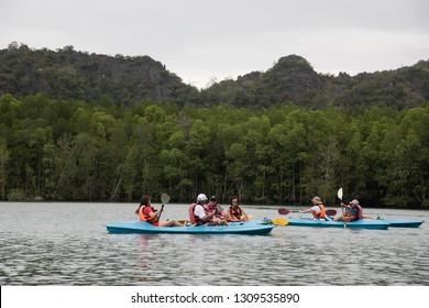 Langkawi, Malaysia - January 2, 2017 : People enjoying kayaking in the Kilim Geo-Forest, Langkawi, Malaysia