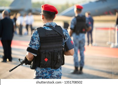 LANGKAWI, MALAYSIA : MARCH 26, 2019 : Military police on guard at the LIMA Maritime and Aerospace expo in Langkawi, Malaysia.