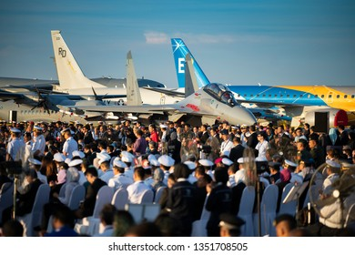 LANGKAWI, MALAYSIA : MARCH 26, 2019 : Crowds gather for Malaysian Prime Minister opening speech at the LIMA Maritime and Aerospace expo in Langkawi, Malaysia.