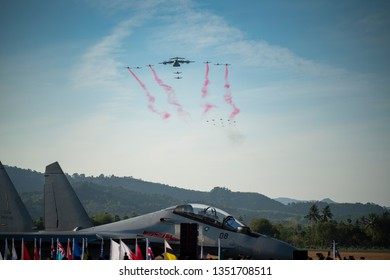 LANGKAWI, MALAYSIA : MARCH 26, 2019 : Fighter and war planes perform a flyby at the LIMA Maritime and Aerospace expo in Langkawi, Malaysia.