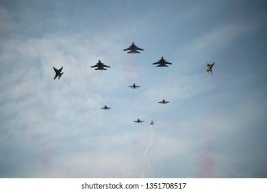LANGKAWI, MALAYSIA : MARCH 26, 2019 : Fighter planes perform a flyby at the LIMA Maritime and Aerospace expo in Langkawi, Malaysia.