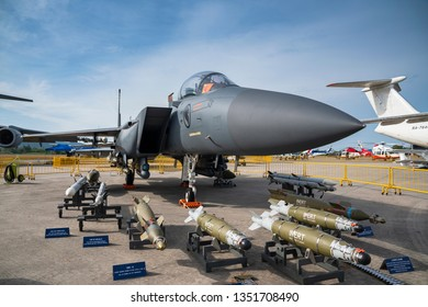LANGKAWI, MALAYSIA : MARCH 27, 2019 : Boeing F-15SG belonging to Singapore Airforce on display with armaments at the LIMA exhibition, Langkawi, Malaysia