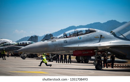 LANGKAWI, MALAYSIA : MARCH 27, 2019 : Malaysian airforce Sukhoi SU-30M moves to start airshow at the LIMA exhibition, Langkawi, Malaysia