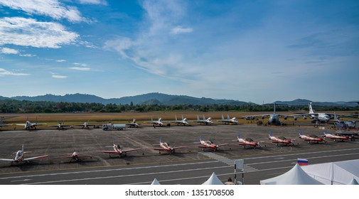 LANGKAWI, MALAYSIA : MARCH 27, 2019 : Fighter airplanes on tarmac at the LIMA exhibition, Langkawi, Malaysia