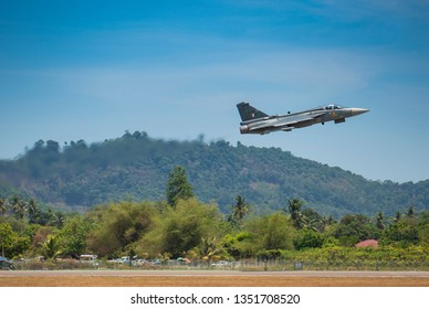 LANGKAWI, MALAYSIA : MARCH 27, 2019 : Fighter jet takes off for airshow at the LIMA exhibition, Langkawi, Malaysia