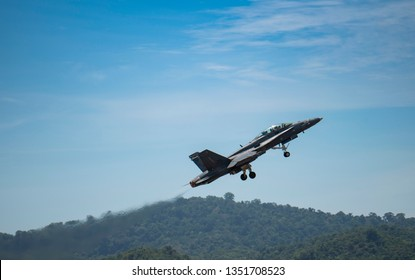 LANGKAWI, MALAYSIA : MARCH 27, 2019 : Malaysian airforce F18 Hornet takes off for airshow at the LIMA exhibition, Langkawi, Malaysia