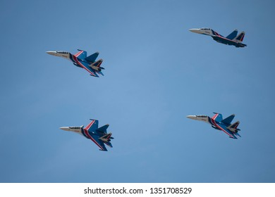LANGKAWI, MALAYSIA : MARCH 27, 2019 : Russian Sukhoi Su-30SM fighter planes fly in formation at the LIMA exhibition, Langkawi, Malaysia