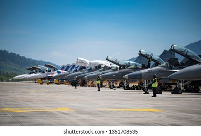 LANGKAWI, MALAYSIA : MARCH 27, 2019 : Russian and Malaysian airforce jets readies for airshow at the LIMA exhibition, Langkawi, Malaysia